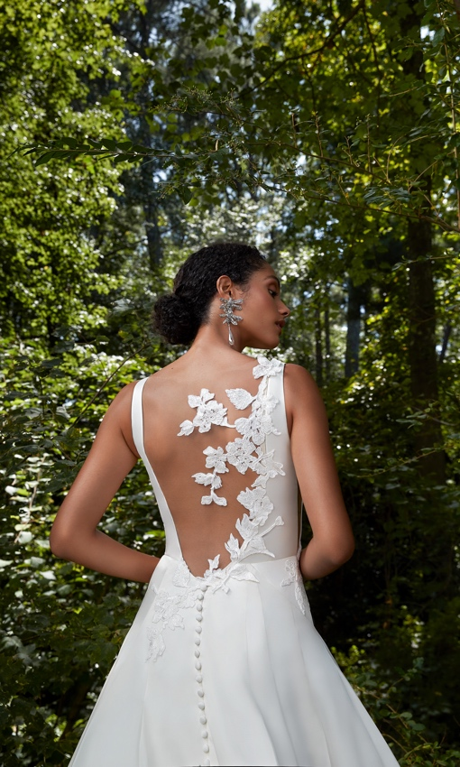 Lace illusion back a-line wedding gown