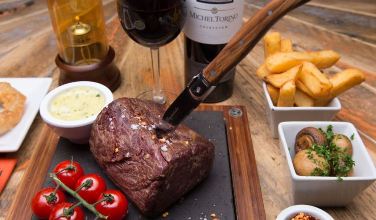 Steak cooked on the stone at STONEAGED restaurant in Henley