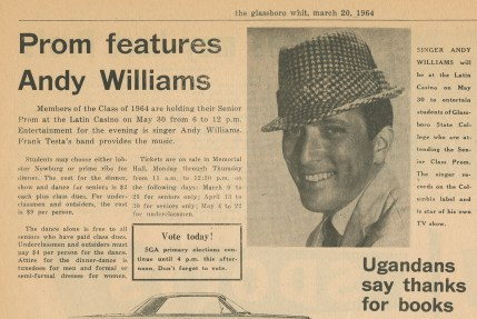 An article featuring Andy Williams on March 20, 1964. -Photo from university archives