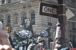 Swoop, the Philadelphia Eagles' mascot, rides in the championship parade. -Copy Editor/Grace Clevenger
