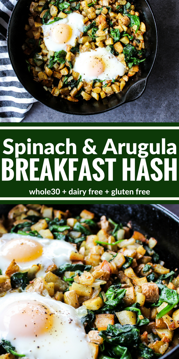 Spinach & Arugula Breakfast Hash is a hearty way to start your day with crispy golden potatoes, plenty of greens, garlic, & fried eggs. Plus it's Whole30, dairy free, and gluten free!