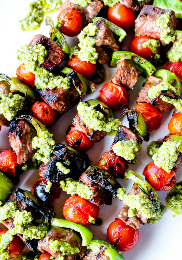 Pesto Steak Kabobs by The Whole Cook vertical