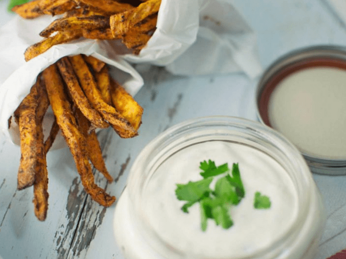 Chili Spiced Sweet Potato Fries with Garlic Lime Sauce by Little Figgy Food