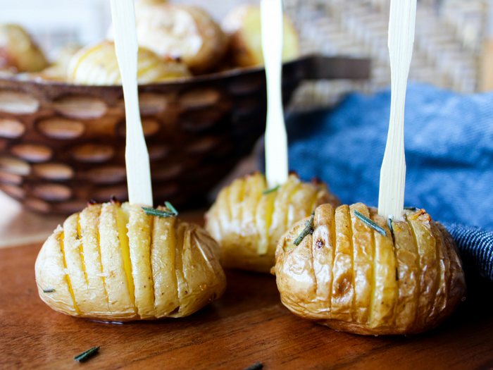 Garlic Rosemary Baby Hasselback Potatoes by The Whole Cook appetizer