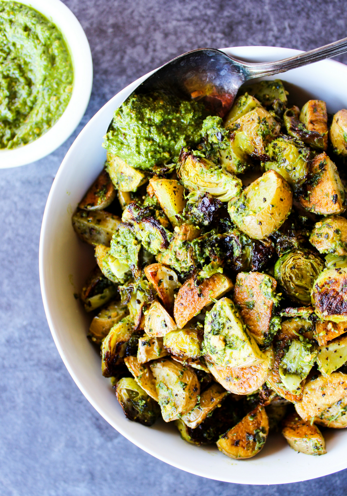 Pesto Potatoes & Brussels Sprouts by The Whole Cook vertical