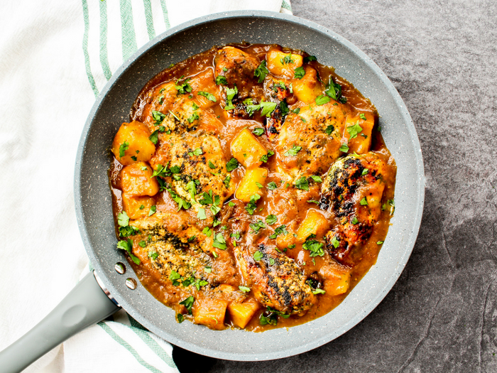 Pineapple Ginger Chicken by The Whole Cook horizontal skillet