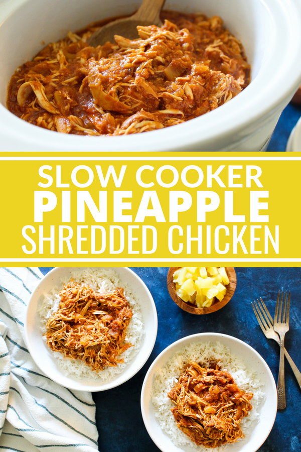 This Slow Cooker Shredded Pineapple Chicken is super easy to make and you can serve it up in so many ways! It's delicious on rice, veggies, or in a sandwich! Plus it's Whole30 compliant, dairy free, gluten free, and sugar free!