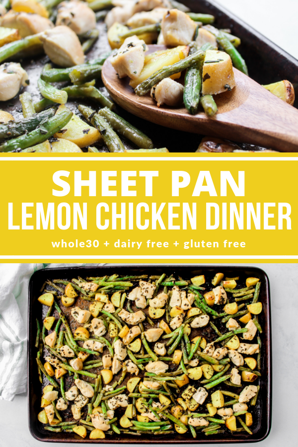 This Sheet Pan Lemon Chicken Dinner is ready in 30 minutes and you'll love the light lemon flavor! It's Whole30, dairy free, and gluten free!