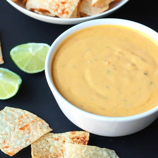 Vegan Queso with Spiced Tortilla Chips
