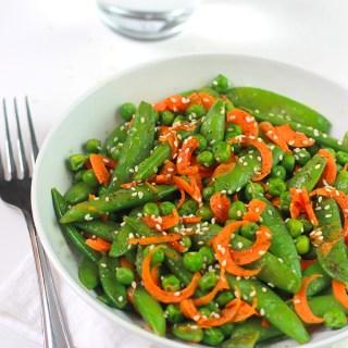 Sesame Sugar Snaps, Peas & Carrots