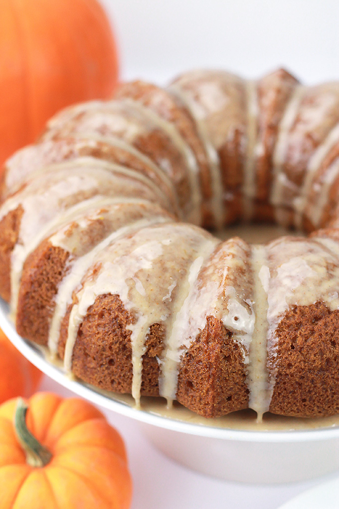 Pumpkin cake with pumpkin spice glaze.