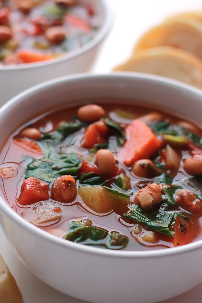 A new take on the old traditional New Year's Black-Eyed Peas and Collard, put them together in a hearty soup.