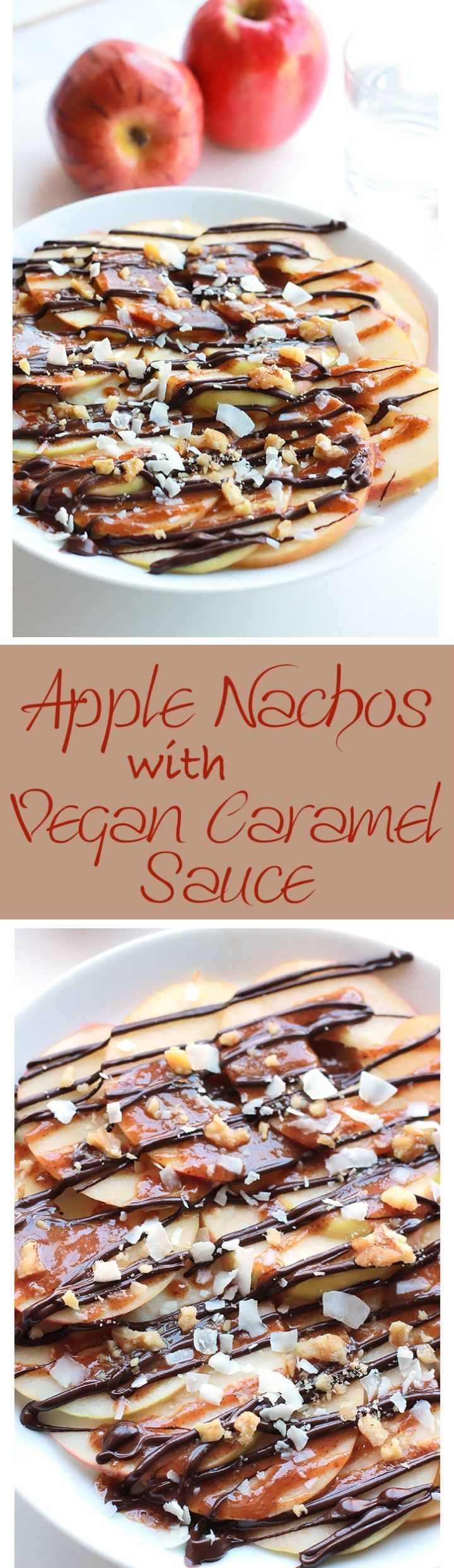Apple Nachos with Vegan Caramel Sauce - Layers of sweet crisp apple slices garnished with smooth vegan caramel, dark chocolate, walnuts and coconut. It's like eating a delicious candy apple.