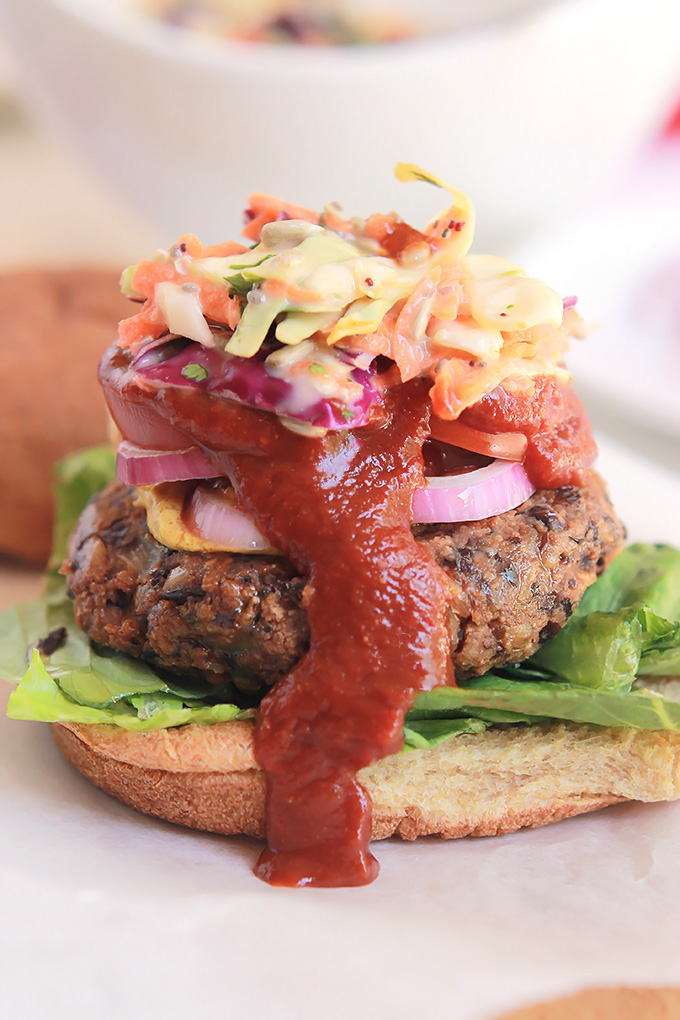 Black bean burger with spicy slaw.