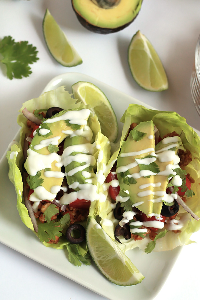 Easy and delicious, Raw Gluten-Free Tacos, made with walnuts and almonds, a great way to lighten things up for Spring.