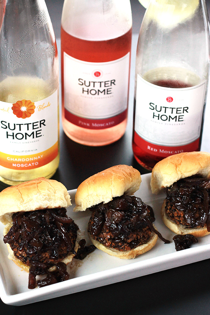 Veggie Sliders with Balsamic Caramelized Onions served with Sutter Home Moscato Blends, making summer entertaining fun.