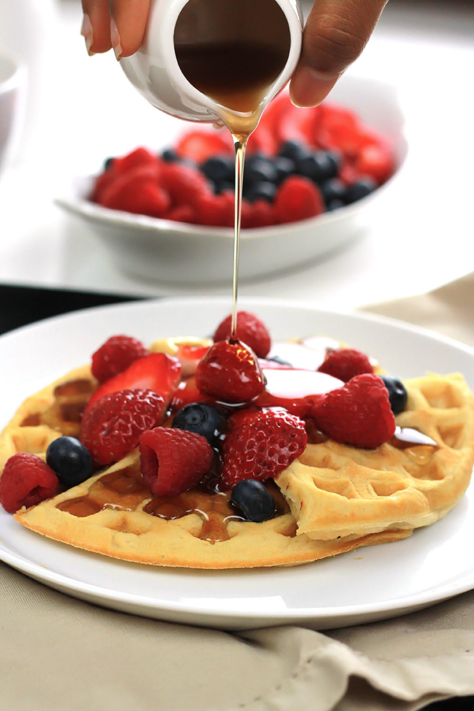 Eggless and oil-free these Easy Vegan Waffles are soft and tender inside and crispy outside. So easy, no need to wait for the weekend to enjoy!