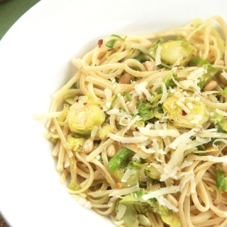 Brussels Sprout Linguine with White Wine