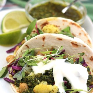 Cauliflower-Chickpea Tacos with Spicy Cilantro Sauce