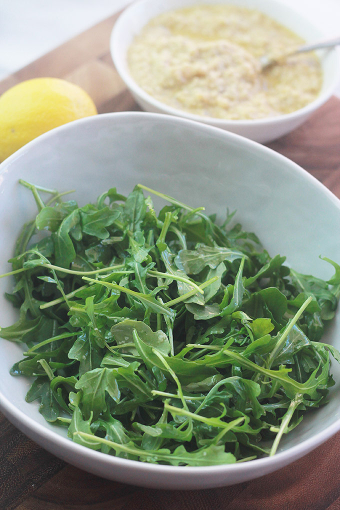 Arugula salad for flatbread pizza.