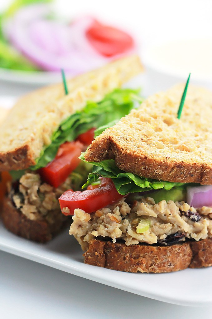 Cranberry chickpea salad sandwich.