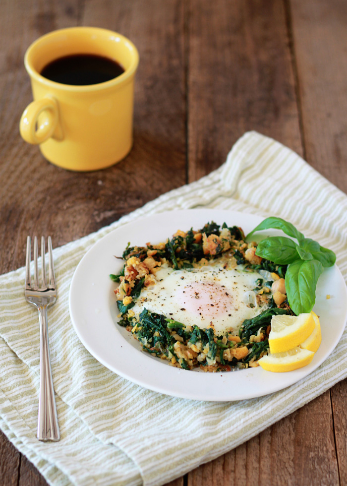 Lemony eggs in a spinach chickpea nest.