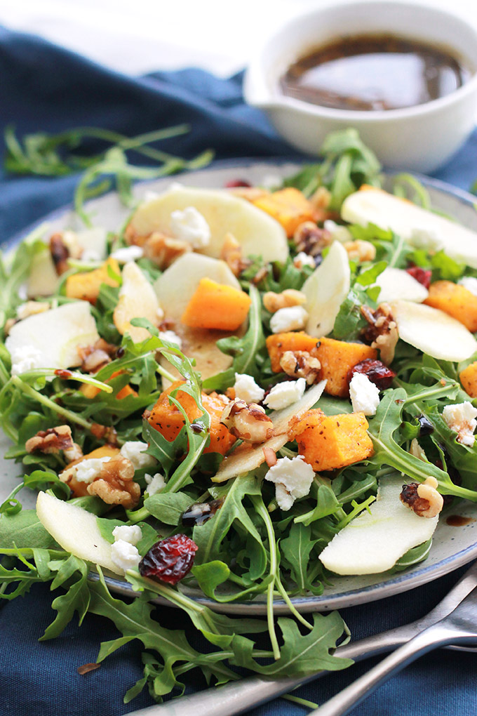 Plate of Butternut Apple Arugula Salad