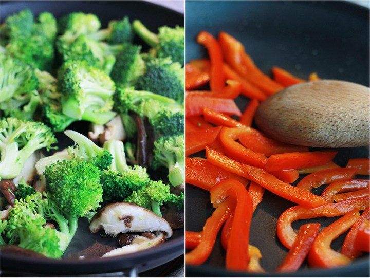 Sauteed broccoli and red bell peppers.