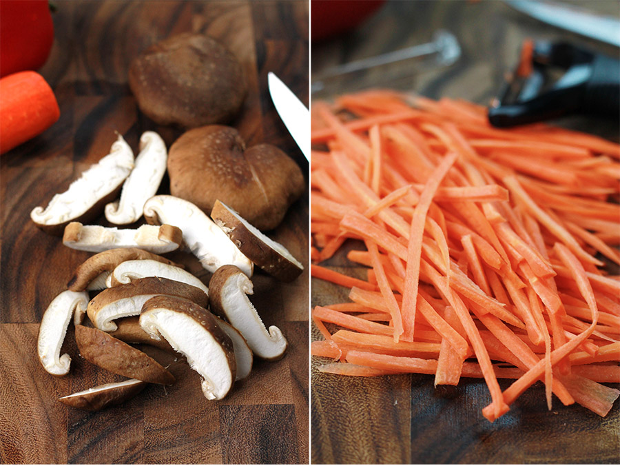 Sliced mushrooms and carrots on End Grain cutting board.