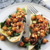 Moroccan Inspired Chickpea Tartine with Spinach and Chard