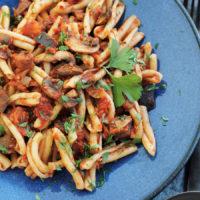 Vegan Eggplant Mushroom Bolognese with Casarecce