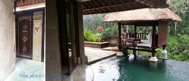 The entrance and private pool with bale