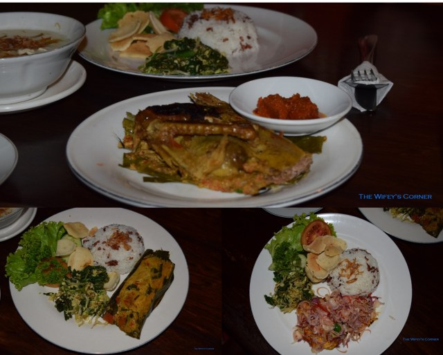 Top: Bebek Betutu (slow- cooked duck with spices) Bottom Left: Ikan Pepes (fish with spice paste steamed in banana leaves) Bottom Right: Ayam Bakar (grilled chicken with balinese sambal matah)