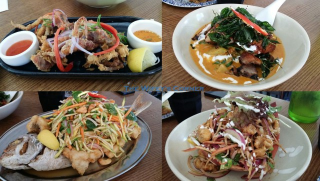 Top Left: Soft Shell Crab Top Right: Roast Duck Red Curry Bottom Left: Crispy Snapper with Green Mango Salad Bottom Right: Banana Flower Salad