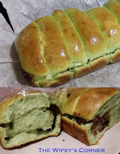 pandan nutella bread loaf