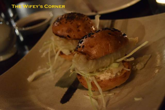 Whiting Slyder - tempura sand whiting served in a brioche bun with shredded cabbage, mayonnaise, Japanese pickle and egg