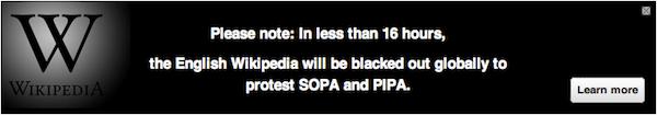 Wikipedia SOPA blackout announcement