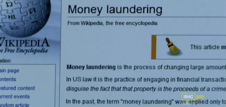 Breaking Bad and money laundering on Wikipedia