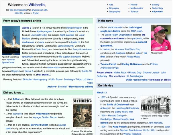 Wikipedia's main page