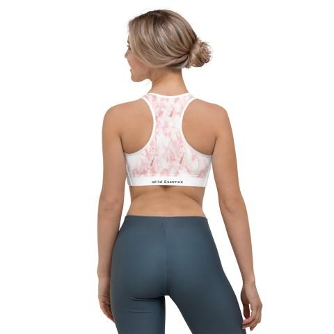 Pink marble yoga bra