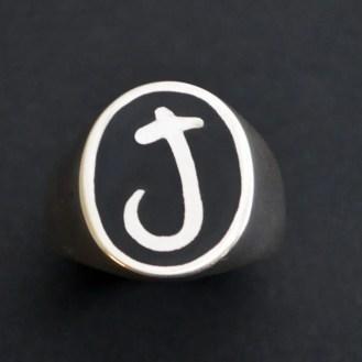 J signet ring with Enamel