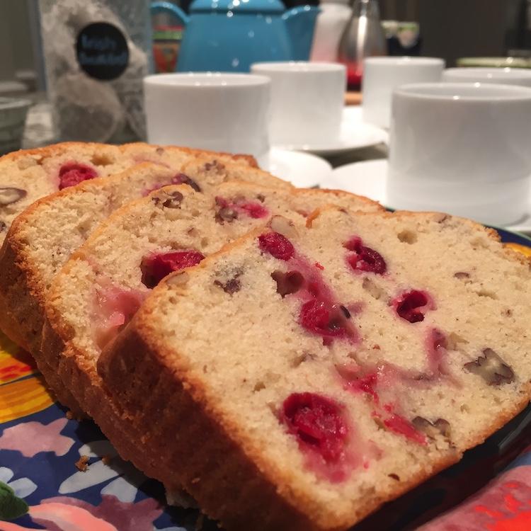 closeup of slices of Cranberry-Orange Pecan Bread