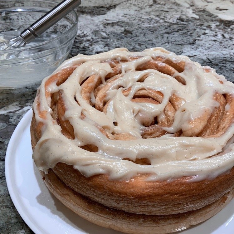 Colossal Cinnamon Roll with Cream Cheese Frosting | Yeast Breads | Cinnamon Rolls