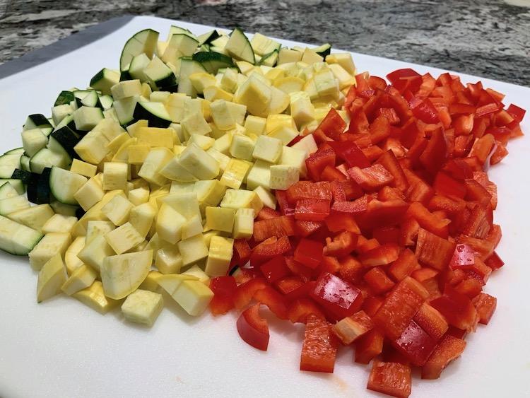 Diced Veggies for Summer Succotash