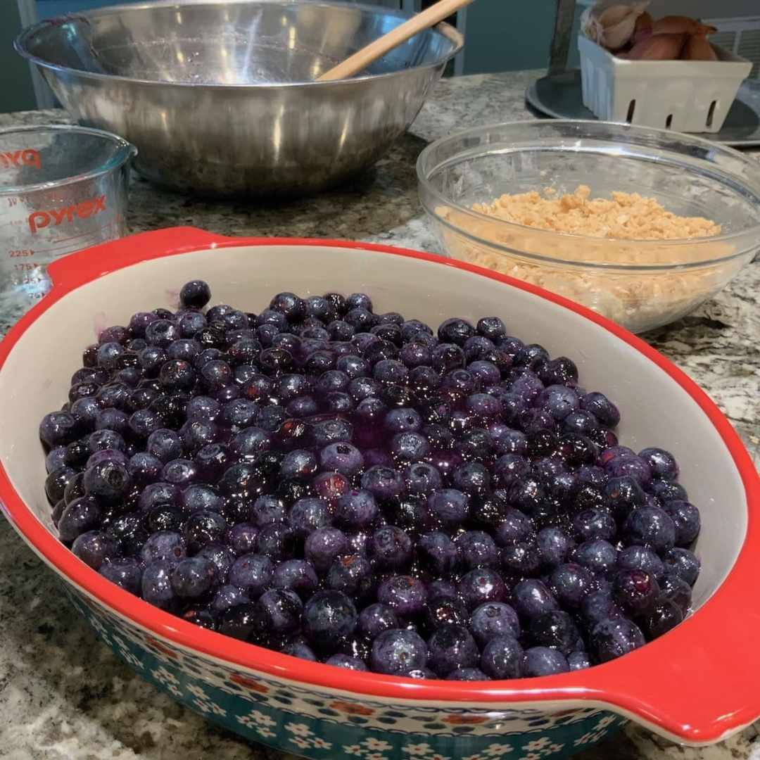 blueberries in pan showing appropriate pan size for baking