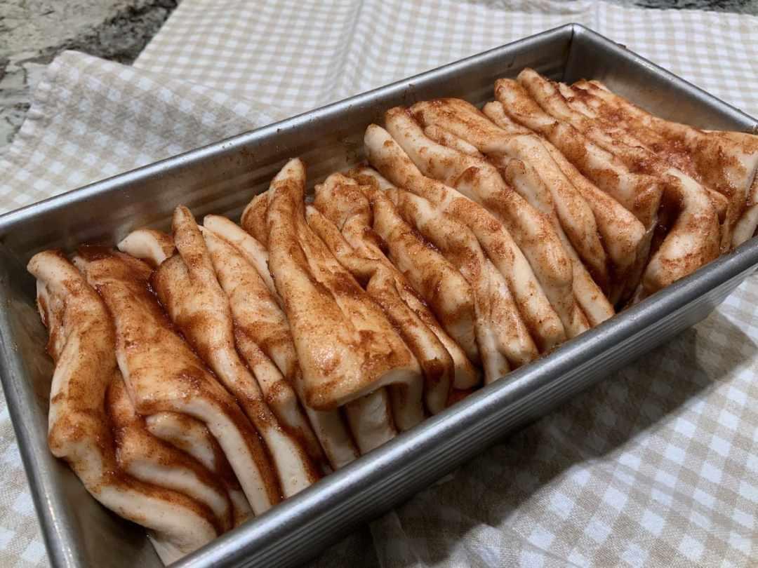 Cinnamon Pull-Apart Bread read to go in the oven