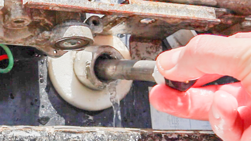 placing anode into RV water heater drain