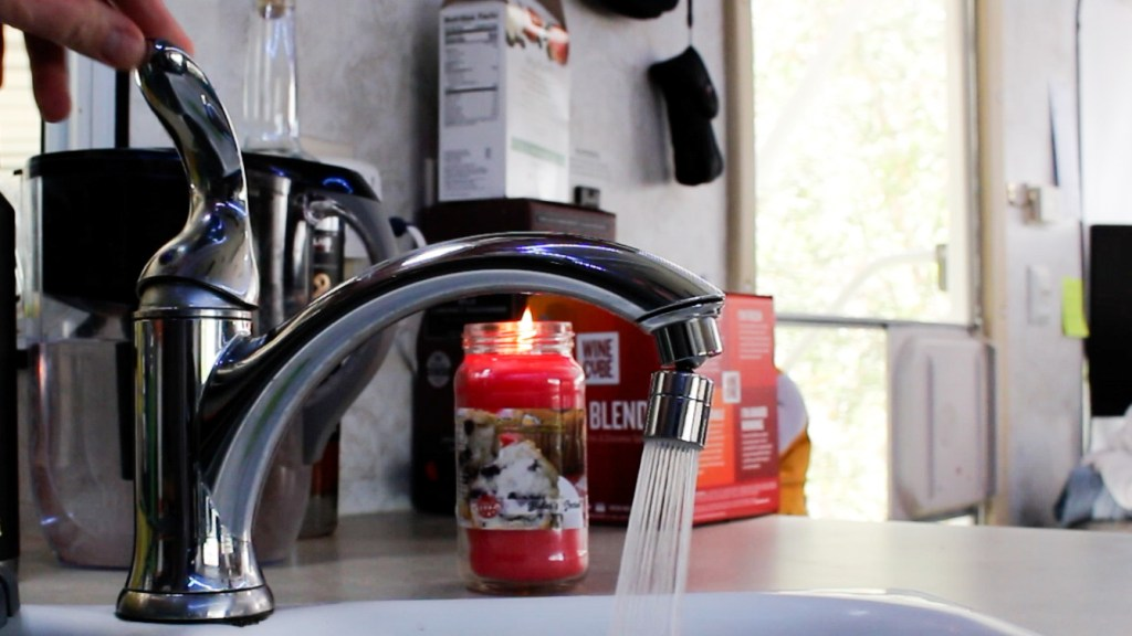 Flush out hot water from RV water heater