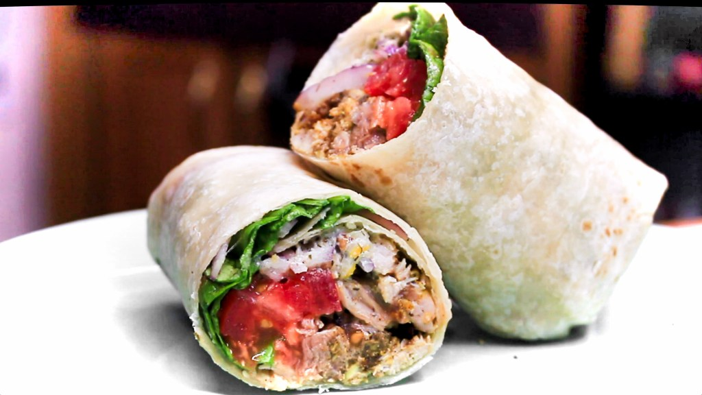 Chicken Shawarma wrapped in a burrito tortilla