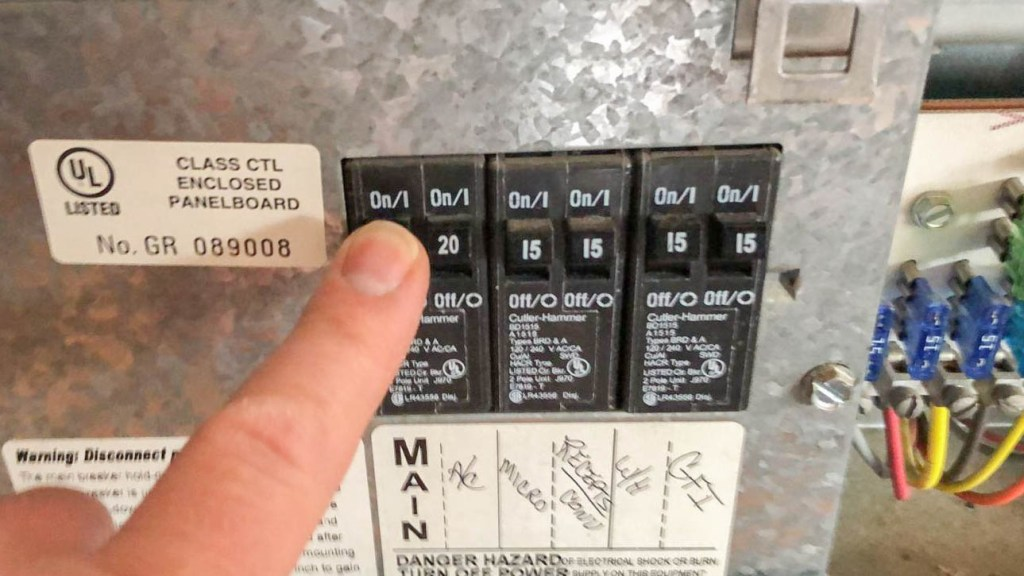 Turn power off to the RV roof vent fan